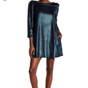 Free People Blue Combo Dress sz L NWT